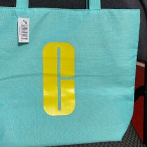 Clinique Bags - Clinique Teal & Yellow Lined Tote Bag